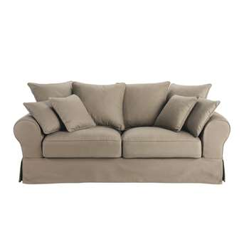 BASTIDE 3 seater cotton sofa bed in taupe