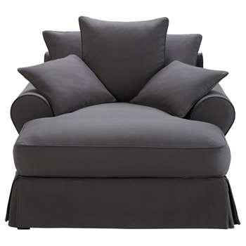 BASTIDE Cotton chaise longue in slate grey