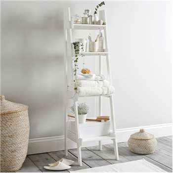 Bathroom Lacquer Ladder Shelf, White (150 x 42cm)