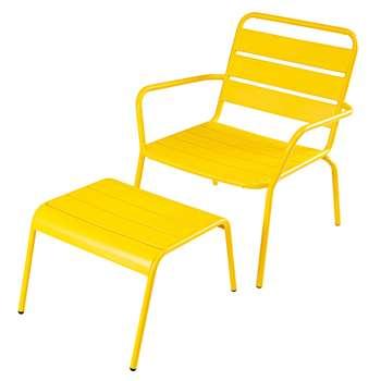 BATIGNOLES Garden armchair and footrest in yellow metal (73 x 65cm)