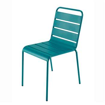 BATIGNOLES Metal garden chair in peacock blue (84 x 47cm)