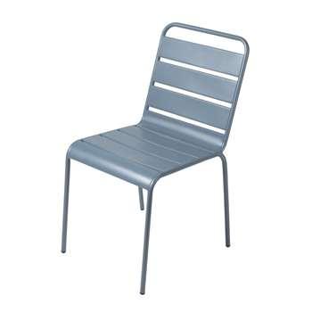 BATIGNOLLES Blue Grey Metal Garden Chair (H84 x W47 x D60cm)