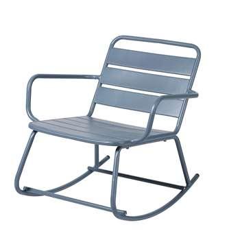 BATIGNOLLES Blue Grey Metal Outdoor Rocking Chair, Blue (H69 x W69 x D81cm)