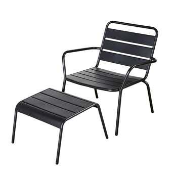 BATIGNOLLES Matte Metal Garden Armchair and Footrest (H73 x W65 x D69cm)