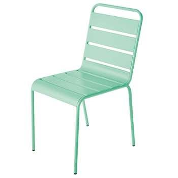 BATIGNOLLES Turquoise Blue Metal Garden Chair (84 x 47cm)
