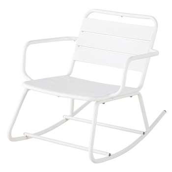 BATIGNOLLES White Metal Outdoor Rocking Chair (H81 x W69 x D69cm)