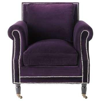 BAUDELAIRE Velvet armchair in aubergine (87 x 80cm)