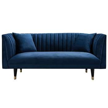 Baxter Two Seat Sofa - Navy Blue (H77 x W170 x D86cm)