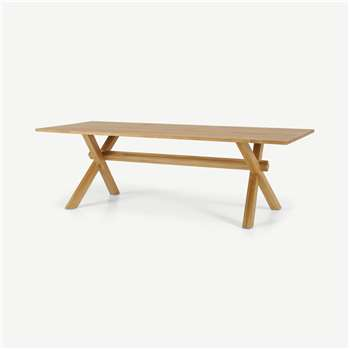 Bayron 10 Seat Dining Table, Brushed Solid Oak (H75 x W240 x D100cm)