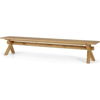 Bayron 5 Seat Dining Bench, Brushed Solid Oak (H44 x W240 x D40cm)