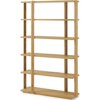 Bayron Wide Shelving Unit, Brushed Solid Oak (H183 x W120 x D39cm)