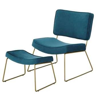 BAYSIDE Peacock Blue Velvet Vintage Armchair and Footrest (H76.5 x W63 x D95cm)