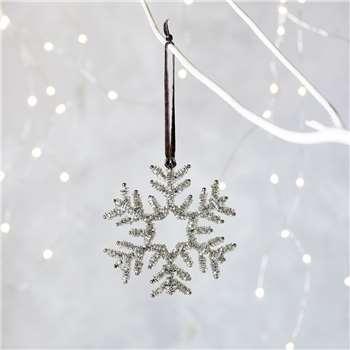Beaded Snowflake Christmas Decoration (H10 x W9.5cm)