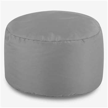 Bean Bag Bazaar Round Indoor/Outdoor Footstool - Light Grey (H20 x W38 x D38cm)