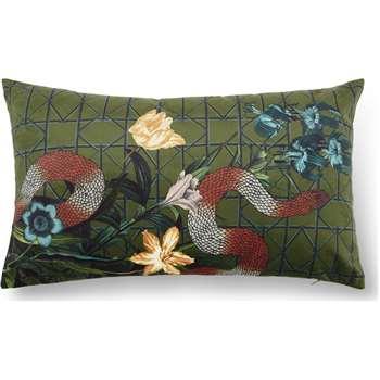 Beatrice Velvet Printed Cushion, Snake Multi (H30 x W50cm)
