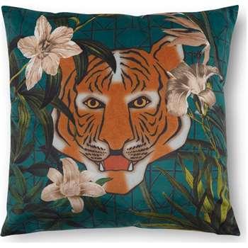 Beatrice Velvet Printed Cushion, Tiger Multi (H45 x W45cm)