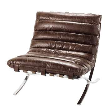 BEAUBOURG Distressed brown leather armchair