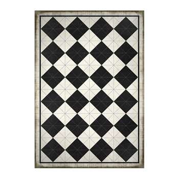 BEAUMONT - 5th Avenue Squares Vinyl Floor Mat - Black/White (H150 x W99cm)