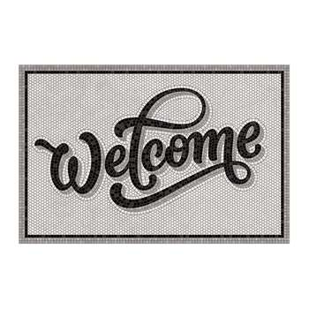 BEAUMONT - 5th Avenue Welcome Vinyl Door Mat - Grey/Black (H49.5 x W116cm)