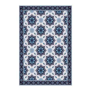 BEAUMONT - Collection Ceramic Vinyl Floor Mat - Blue (H150 x W99cm)