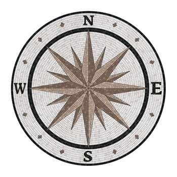 BEAUMONT - Compass Round Vinyl Floor Mat - Brown (Diameter 99cm)