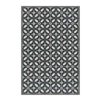 BEAUMONT - Flower Tiles Vinyl Floor Mat - Black/White (H150 x W99cm)