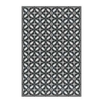 BEAUMONT - Flower Tiles Vinyl Floor Mat - Black/White (H150 x W99cm)