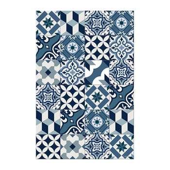 BEAUMONT - Large Tiles Vinyl Floor Mat - Blue (H150 x W99cm)