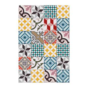 BEAUMONT - Large Tiles Vinyl Floor Mat - Multi - 99x150cm (H150 x W99cm)