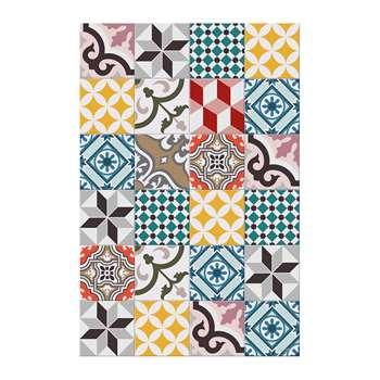 BEAUMONT - Large Tiles Vinyl Floor Mat - Multi - 99x150cm (H150 x W99cm)