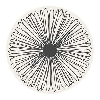 BEAUMONT - Mirage Flower Round Vinyl Floor Mat - White/Black (Diameter 99cm)