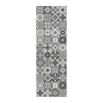 BEAUMONT - Small Tiles Vinyl Floor Mat - Black/White (H66 x W198cm)