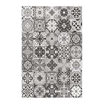 BEAUMONT - Small Tiles Vinyl Floor Mat - Black/White (H99 x W150cm)