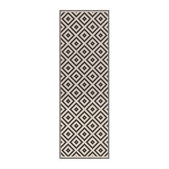 BEAUMONT - Squares Vinyl Floor Mat - Cream/Black (H198 x W66cm)