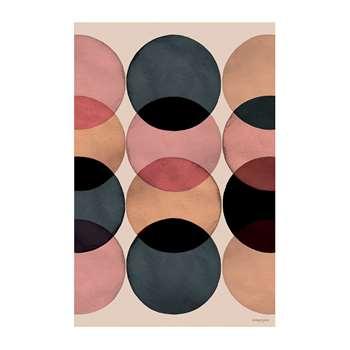 BEAUMONT - Watercolour Circles Vinyl Floor Mat (H150 x W99cm)