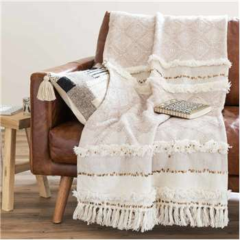 BEAVER Beige Cotton Berber Throw (160 x 210cm)