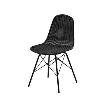 BECKETT Garden chair in steel and black resin wicker (85 x 45cm)