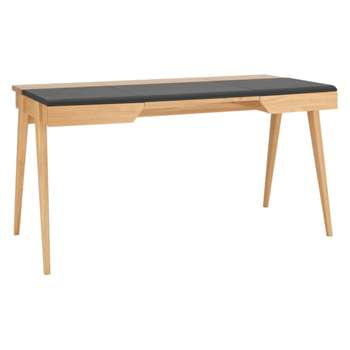 Beckett Oak and Brown Leather Desk (Width 147cm)