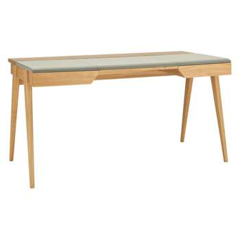 Beckett Oak and Grey Leather Desk (Width 147cm)