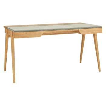 Beckett Oak and Grey Leather Desk (Width 147cm)
