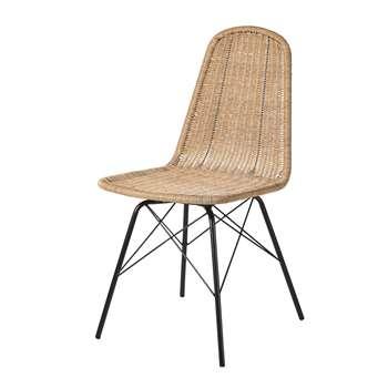 BECKETT Rattan Effect Resin Wicker and Black Metal Garden Chair (H86 x W44 x D58cm)