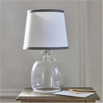 Bedside Lamp White Shade with Grey Trim (H45.5 x W18 x D18cm)