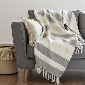 Beige and Ecru Cotton Blanket (H180 x W240cm)