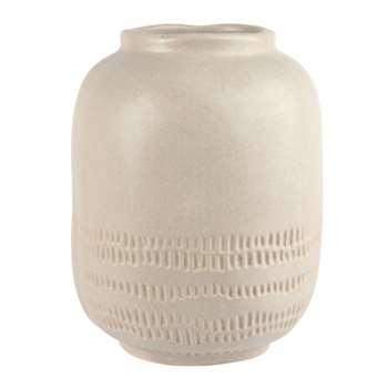 Beige and White Ceramic Bowl Vase (H20.5 x W16 x D16cm)