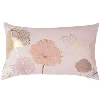 Beige Cushion Cover With Floral Print (H30 x W50cm)
