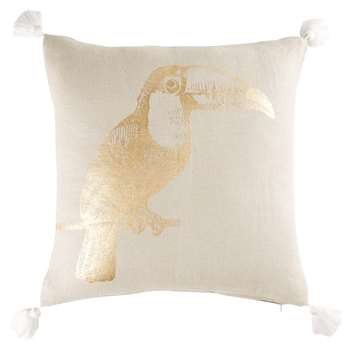 Beige Linen Cushion with Golden Toucan Print (H42 x W42cm)