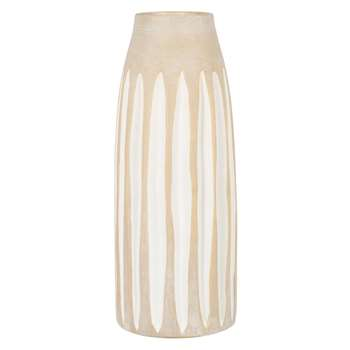 Beige stoneware vase with white vertical lines (H33 x W13 x D13cm)