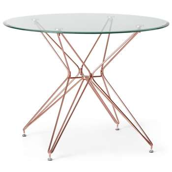 Belden 4 Seat Round Dining Table, Glass and Copper (H75 x W100 x D100cm)
