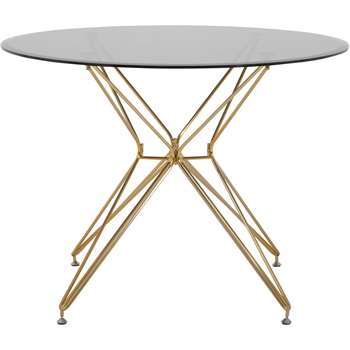 Belden Round Dining Table, Smoked Glass and Brushed Brass (75 x 100cm)