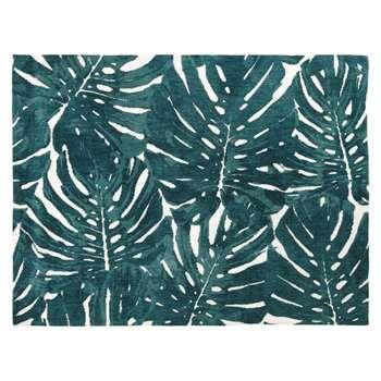 BELEM - Ecru Tufted Rug with Green Foliage Print (H140 x W200 x D2cm)